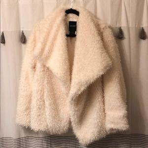 Drapey Ivory Fuzzy Faux Fur Jacket
